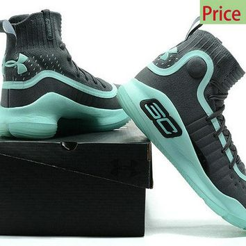 Shop 2018 New Mens Under Armour Curry 4 Mid Basketball Shoes Black Verdigris Green sneaker