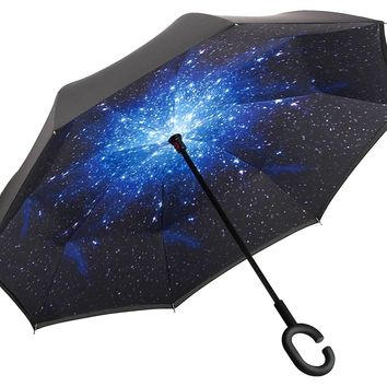 WENXIN Double LayerInverted Umbrella with UV Protection, C-hook Reverse Folding Umbrella, Windproof for Hands Free, for Car Use, Golf, Large