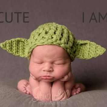 Crochet Green Baby Yoda Hat Newborn Photography Props