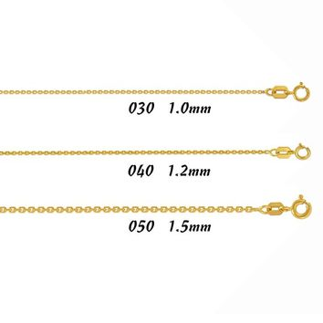 "Womens 14K Real Solid Yellow Gold Light Square Cable Chain Necklace 1.0mm ~ 1.5mm 16"",18"",20"""