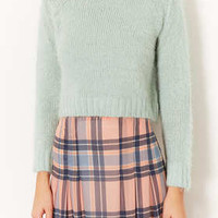 Knitted Fluffy Crop Jumper - Knitwear  - Clothing