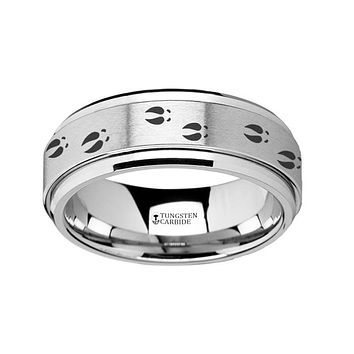Deer Tracks  Engraved - Spinning Tungsten Ring - Laser Engraved - Tungsten Carbide Wedding Band - 8mm