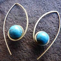 Turquoise & Brass Jayne Earrings