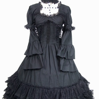 J496 BLACK DRESS GOTHIC LOLITA PUNK COSPLAY Tiered Layered COTTON LONG SLEEVES Alternative Measures - Brides & Bridesmaids - Wedding, Bridal, Prom, Formal Gown