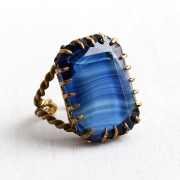 Vintage Blue Art Glass Stone Ring - Adjustable Brass West Germany Wire Wrapped Statement Costume Jewelry Cocktail Ring