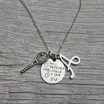 Personalized Tennis She Believed She Could So She Did Necklace- Letter