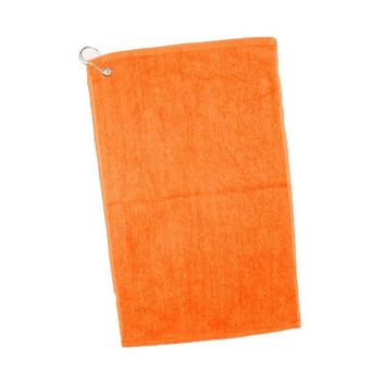 Grommet Velour Hemmed Hand-Golf Towel - Orange - CASE OF 144
