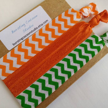 Green and orange hair ties, set of 3 chevron hair ties, print FOE, foldover elastic, team color hairtie ponytail holders, sports, girls gift
