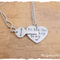 His Her Matching Set - Key to my Heart - Two hand stamped Necklaces.