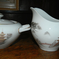 Cream & Sugar Set made by Sone China Company in Japan - Pattern Kiyomizu - Very Wabi-Sabi