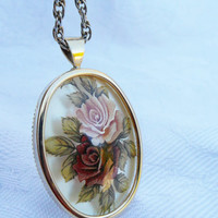 Vintage Cameo Necklace Rose Floral Transfer Print