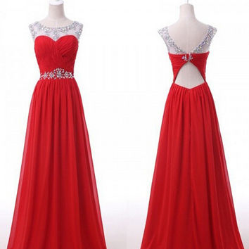 Elegant A-line Beading Open-back Prom Dress Homecoming dress