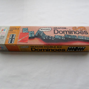 13-1108 Vintage 1970 Halsam Double Dragon Dominoes / Wooden Dominoes / Domino Game / 28 Dominoes / Milton Bradley Game / Toy