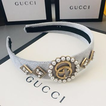 GUCCI LV Louis Vuitton Hot Sale Women Chic Metal Pearl Headwrap Headband Head Hair Band Grey