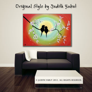 LOVE BIRDS Painting, Large canvas art; Ready to Hang; Romantic gift by Judith Yabut