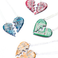 2 friendship necklaces - heart necklaces - split hearts for lovers, friends or partners