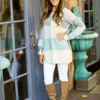 All the Right Flavors Sweater Mint/Gray