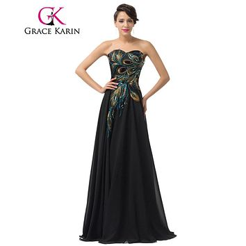 Grace Karin 2017 Embroidery Peacock Evening Dresses Floor Length Long Navy Blue Purple Black Evening Gowns Formal Dress Chiffon