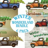 Vintage Hand Painted Trucks & Christmas Trees Instant Digital Download Printable Graphic Decor Image