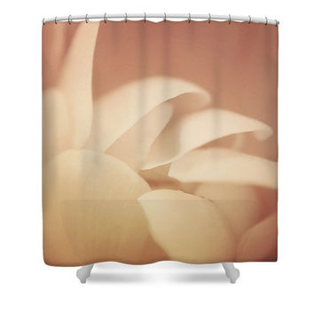 Peach shower curtain, peach bathroom decor, floral shower curtain, flower power, floral bathroom, light peach, peach floral, peach decor