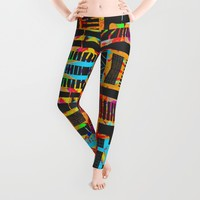 splatter paint design, modern abstract ladders Leggings by ACKelly