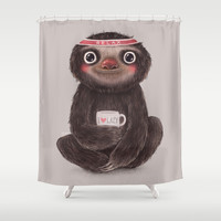 Sloth I♥lazy Shower Curtain by Lime