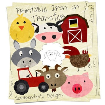Farm Bundle Pack - Iron on Farm Shirt PDF / Pig Shirt / Goat Tshirt / Barn Printable / Farm Birthday Party / Kids Boys Clothing / Rooster