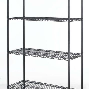 Black Commercial 4 Tier Shelf Adjustable Steel Wire Metal Shelving Rack