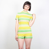Vintage Yellow Green Striped Playsuit Jonathan Logan Romper Micro Mini Hot Pants Jumper Lemon Lime 1960s Mod Jumpsuit 60s Shorts S Small