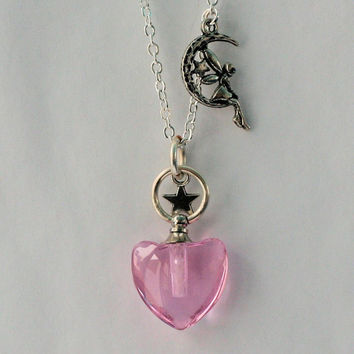 Peter Pan Tinkerbell Pixie Dust Charm Necklace All It Takes Is Trust and a Little Bit of Pixie Dust Pink With Tinkerbell