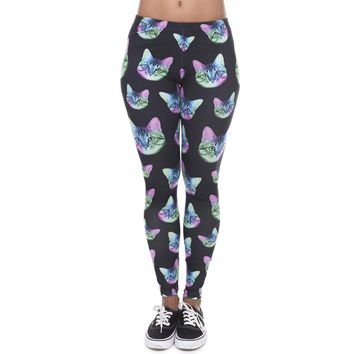 Fashion Neon Cat Black Printing Slim Stretch Fitness Leggings