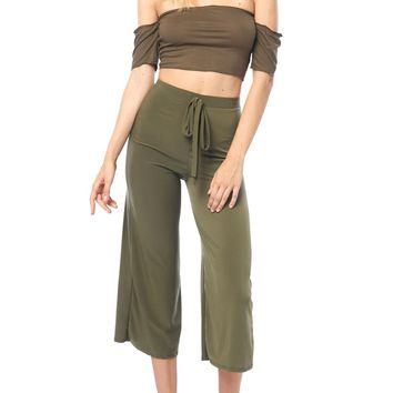 Cargo Tie-Waist High Rise Cropped Pants