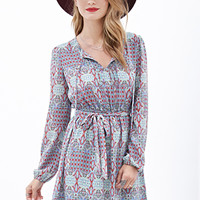 Pintucked Stained Glass Print Dress