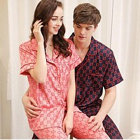 GUCCI Fashion Women Men Casual Silk Couple Pajamas Home Wear