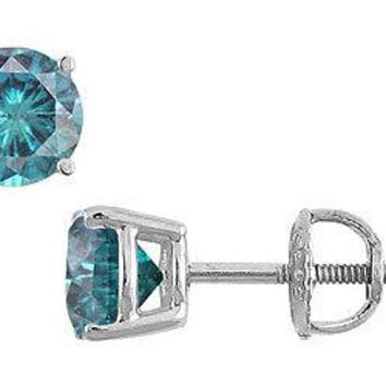 Blue Diamond Stud Earrings : 14K White Gold - 0.75 CT Diamonds