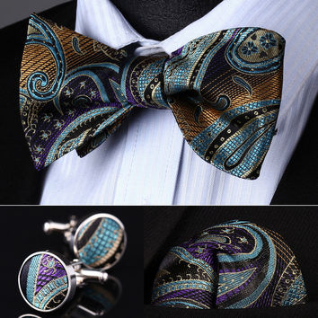 Pocket Square Classic Party Wedding BZP05M Blue Purple Paisley Men Silk Self Bow Tie handkerchief Cufflinks set
