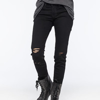 Flying Monkey Destroyed Womens Skinny Jeans Black  In Sizes