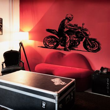 ik278 Wall Decal Sticker Decor motorcycle rider rock interior bed