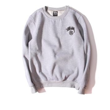Tide brand retro lovers long - sleeved solid color plus cashmere sweater men and women Gray