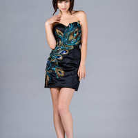 Short Sequins Mini Formal Dress Prom Gown Peacock Design Strapless Sweetheart