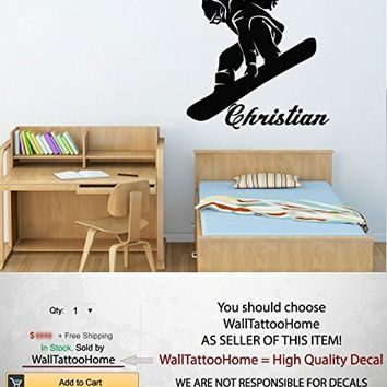"""Snowboard Wall Decals Custom Personalized Name Decor Boy Sports Decal Vinyl Sticker Bedroom Nursery Baby Room Home Ms779 (22"""" Tall)"""