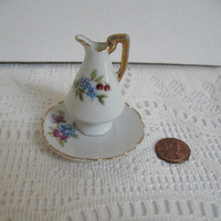Miniature Pitcher with Plate Made in Japan Doll Size Pitcher Floral Pitcher / Creamer