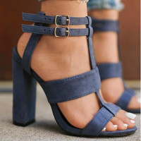 Strappy Suede Block Heel Sandals 2 Colors