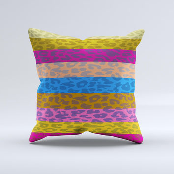 Neon Striped Cheetah Animal Print Ink-Fuzed Decorative Throw Pillow