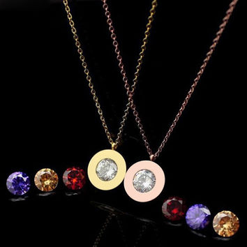 3 Stone 18K Rose Gold Plated Women Trendy Interchange Crystal Stone Necklaces Titanium Stainless Steel Jewelry Pendant Necklace