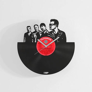 U2 band inspired wall clock from upcycled vinyl record (LP), handmade gift for U2 fan, U2 wall art, decor, lasercut clock, U2 office decor