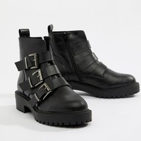 ASOS DESIGN Arco chunky multi buckle ankle boots at asos.com