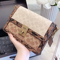 COACH New fashion pattern leather chain shoulder bag crossbody bag
