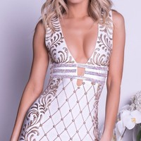 OLYA PAINTED BANDAGE DRESS IN WHITE WITH GOLD