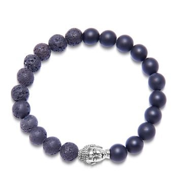 Men's Wristband with Matte Onyx and Lava Stone with Silver Buddha